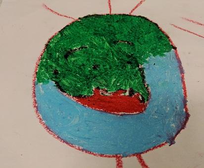Self Portrait-Oil pastel on paper